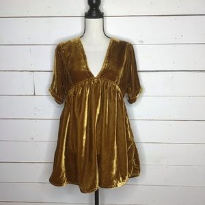 New Free People Icy Velvet Mini Dress, Desert Gold